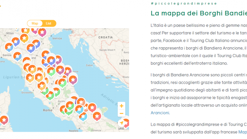 Facebook e il Touring Club Italiano supportano i borghi e le vendite online dei produttori a Km 0